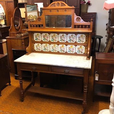 Marble Topped & Tiled Edwardian Washstand