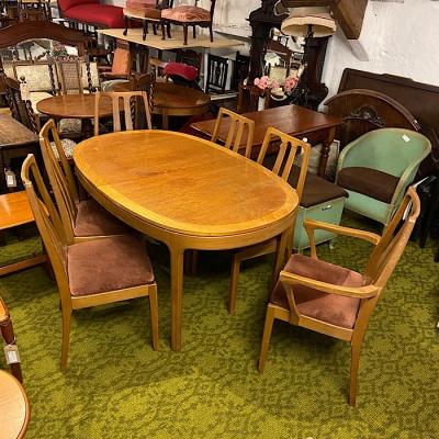 Nathan Teak Extending Dining Table & Six Chairs