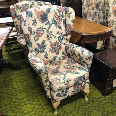 Neat Wingback Floral Armchair