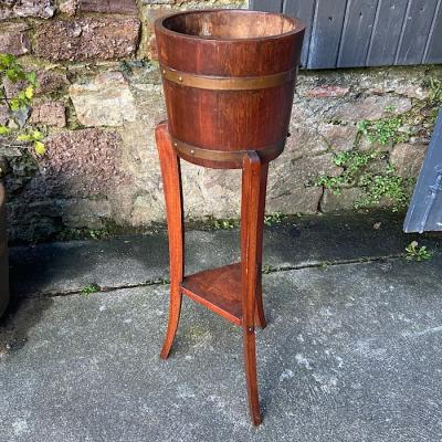 Oak And Copper Bound Jardiniere On Stand