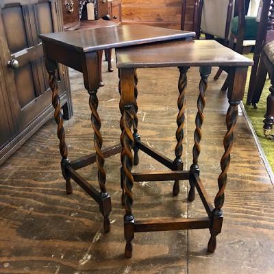 Oak Barley Twist Tall Nest Of Tables