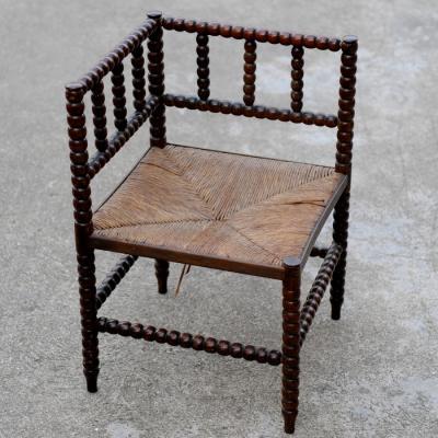 Oak Bobbin Turned Corner Chair