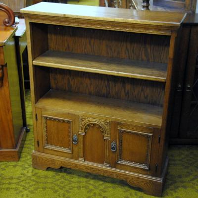 Oak Bookcase With Arched Panels