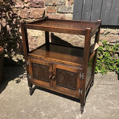 Oak Tea Trolley With Cabinet
