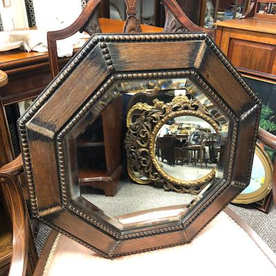Octagonal Oak Framed Mirror