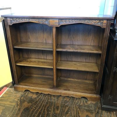 Old Charm Carved Oak Open Bookcase