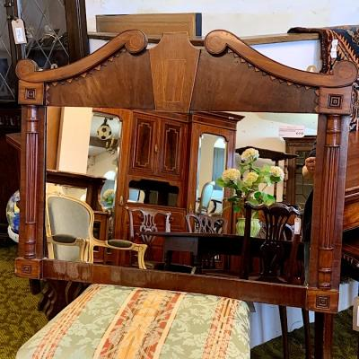 Ornate Edwardian Mahogany Overmantle Mirror