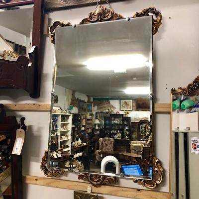 Ornate Gilt Framed Beveled Mirror