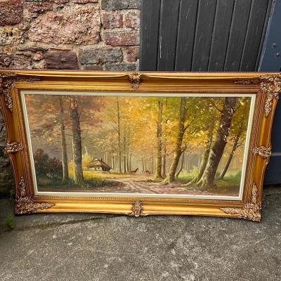 Ornate Gilt Framed Oil on Canvas Woodland