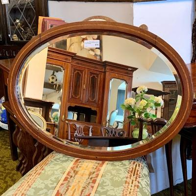 Oval Beveled Mirror With Inlaid Frame