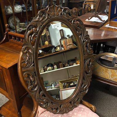 Oval Carved Oak Hall Mirror