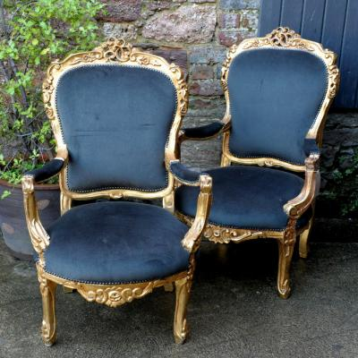 Pair Louis XV Style Carved Giltwood Fauteuils Armchairs