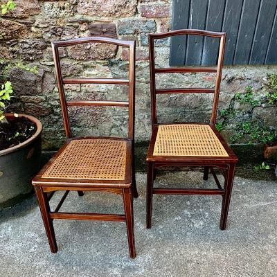 Pair of Inlaid Mahogany Bedroom Chairs