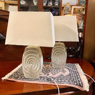Pair of Modern Stone Coloured Lamps