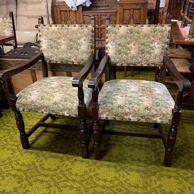 Pair Of Oak And Tapestry Carver Chairs