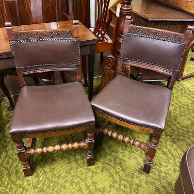 Pair Of Oak Upholstered Dining Chairs
