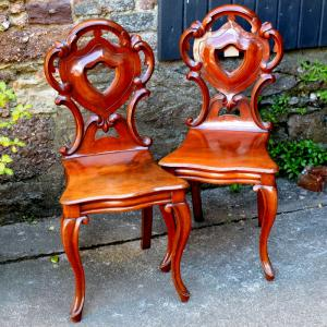 Pair Of Victorian Mahogany Hall Chairs
