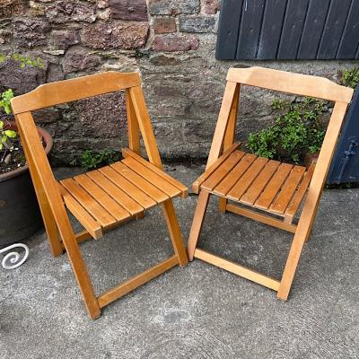 Pair Vintage Folding Deck Chairs