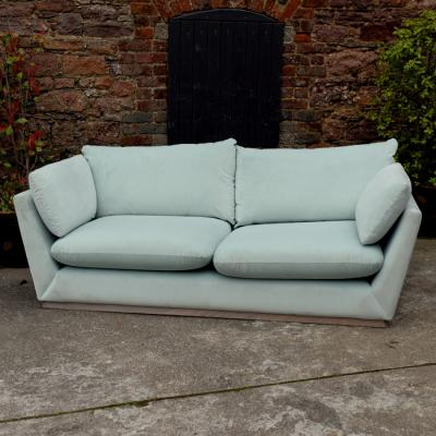 Pale Blue Velvet Three Seater Sofa