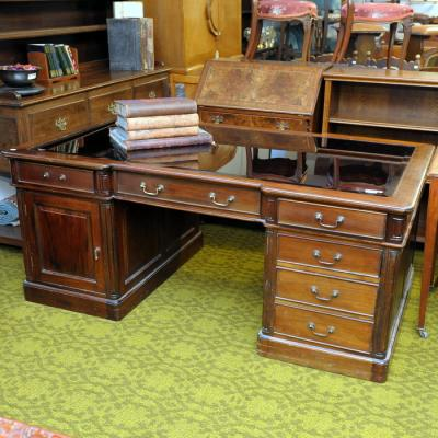 Partners Office Desk With Glass Top