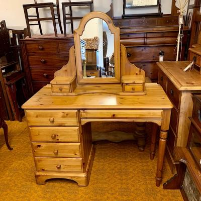 Pine Four Drawer Dressing Table and Mirror