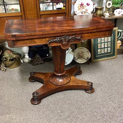Regency Rosewood Fold-Over Pedestal Card Table