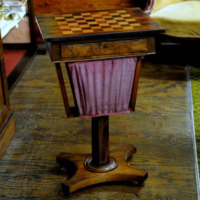 Regency Rosewood Work Table with Chess Board Top