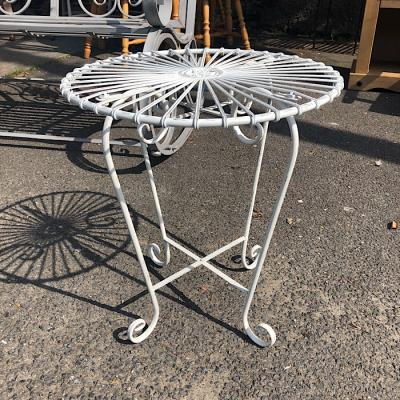 Retro White Metal Garden Table