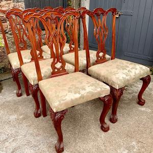 Set 6 Chippendale Style Dining Chairs