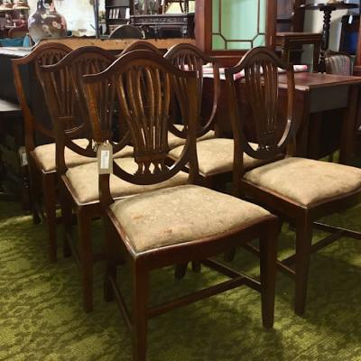 Set Of 6 Hepplewhite Style Dining Chairs