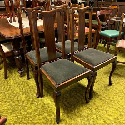 Set Of Four 1920S Beech Highback Dining Chairs