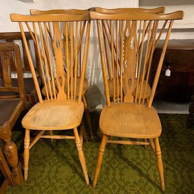 Set Of Four Beech Highback Chairs