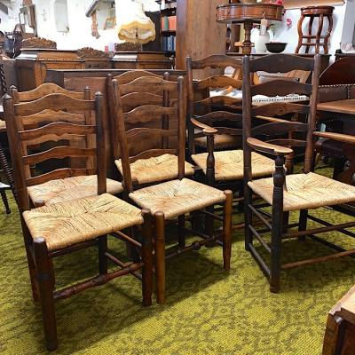Set Of Six Georgian Elm Rush Seated Ladderback Chairs