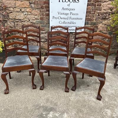 Set Of Six Ladderback Mahogany Dining Chairs
