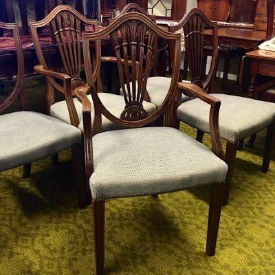 Set of Ten Hepplewhite Revival Dining Chairs
