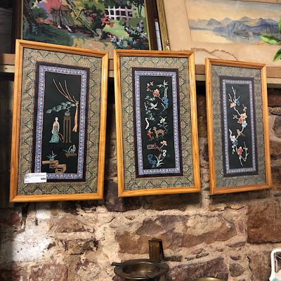 Set of Three Framed silk Embroideries