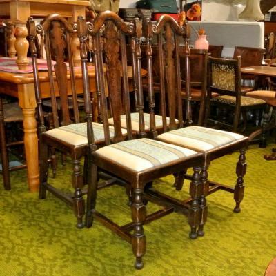Set 4 Oak Dining Chairs