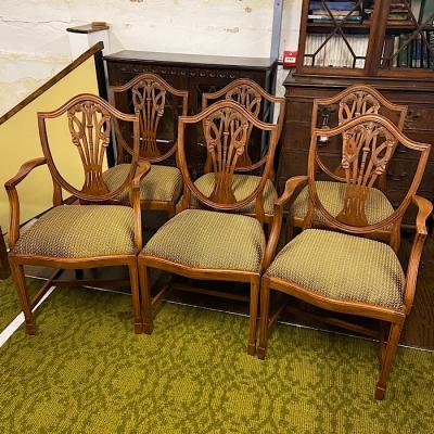 Six Hepplewhite Revival Mahogany Dining Chairs