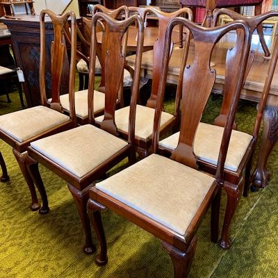 Six Queen Anne Style Mahogany Dining Chairs
