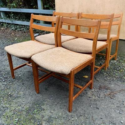 Six Vintage Oak Dining Chairs