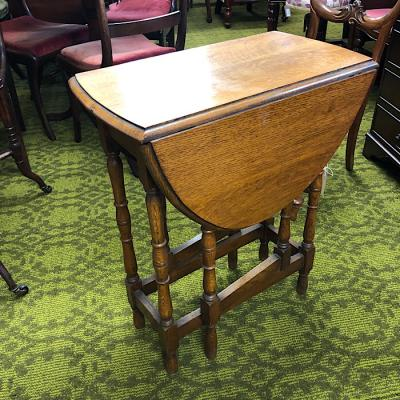 Small Oak Oval Drop-Leaf Table