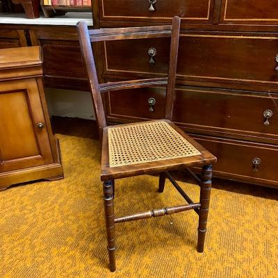Small Vintage Mahogany & Rattan Bedroom Chair