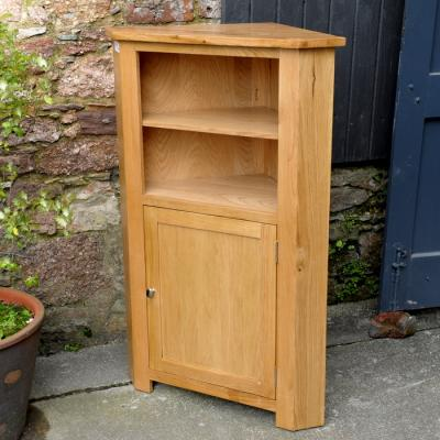 Solid Oak One Door Corner Cupboard