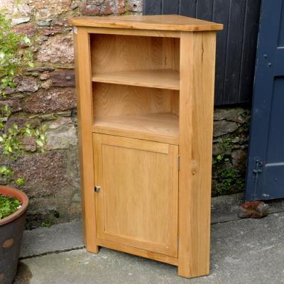 Solid Oak One Door Corner Cupboard