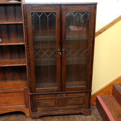 Tall Glazed Oak Bookcase
