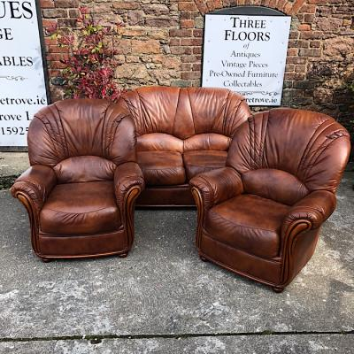 Tan Leather Italian Style Suite
