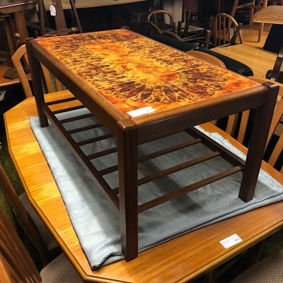 Teak Tile Top Coffee Table