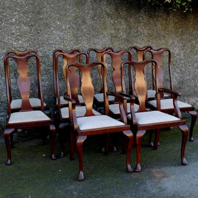 Ten Queen Anne Style Mahogany Dining Chairs