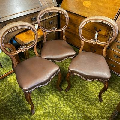 Three Victorian Mahogany Balloon Back Chairs
