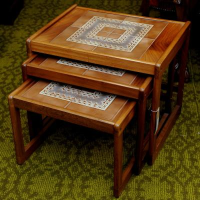 Tiled Top Teak Nest Of Tables